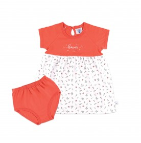 FIFFY CORAL FLOWERY DRESS SUIT