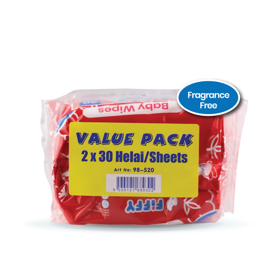 Baby Wipes - FIFFY BABY WIPES RED 30 S X 2