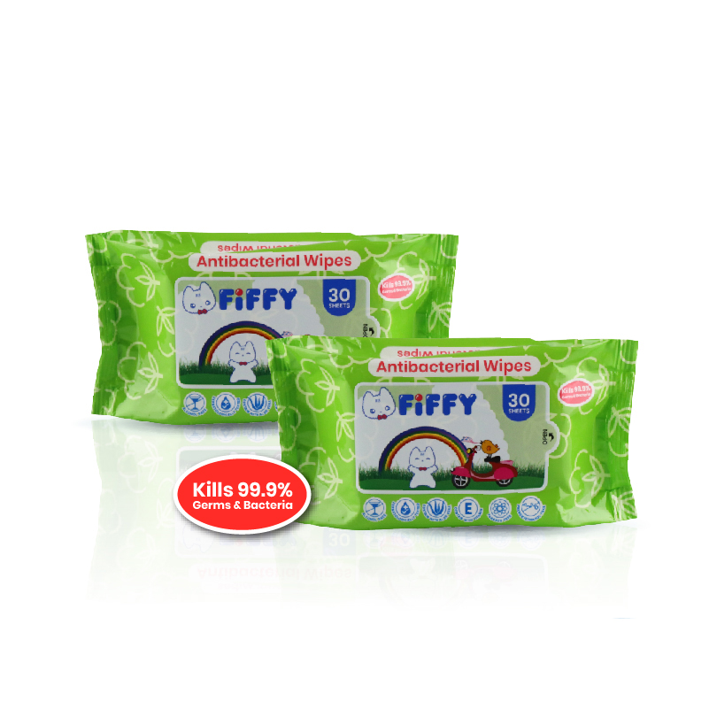 FIFFY ANTIBACTERIAL HYGIENIC WIPES (30s x 2)